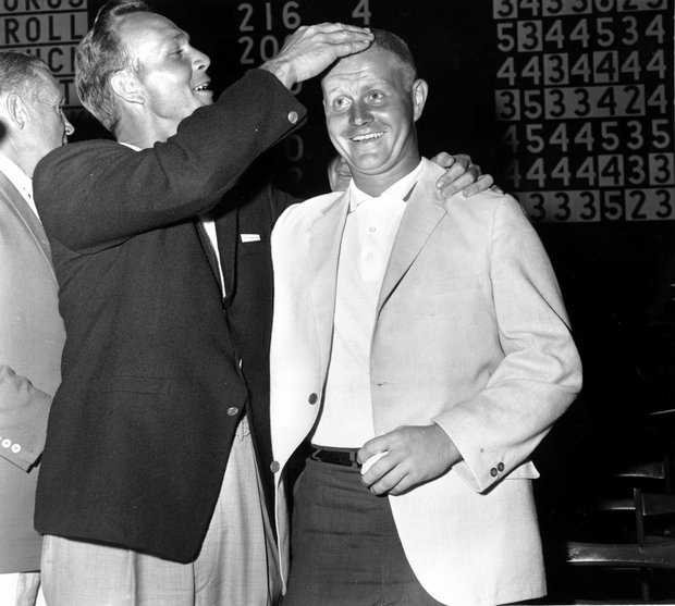 Arnold Palmer, left, winner of the U.S. Open, congratulates Jack Nicklaus on June 18, 1960.