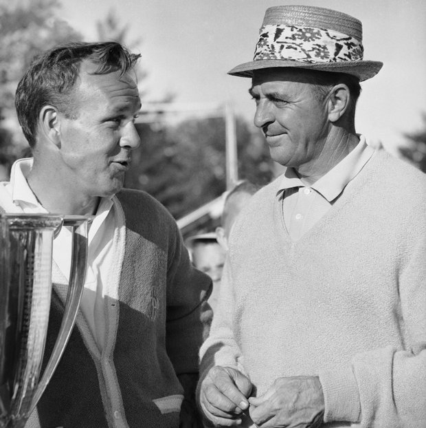Arnold Palmer, left, as he was congratulated by Sam Snead after winning the Western Open, June 25, 1961.