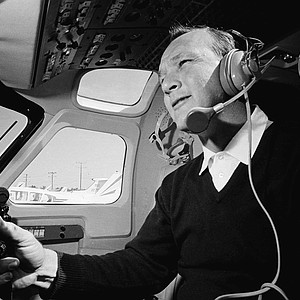 Arnold Palmer in the cockpit of a $750,000 Jet Commander, which he bought and pilots himself, is ready to take off from the Miami International Airport, May 23, 1966. Palmer is on a 1,000-mile flight to his home in Latrobe, Pa. (AP Photo/JM)