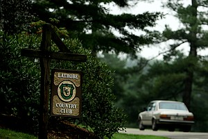 The entrance to Arnold Palmer's golf course, Latrobe Country Club.