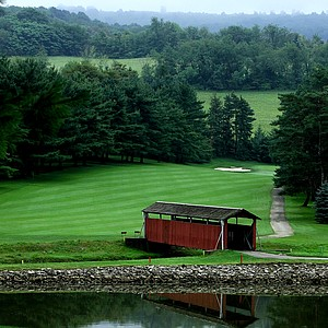 A bridge at the 11th hole of Arnold Palmer's course, Latrobe Country Club, in Latrobe, Pa.