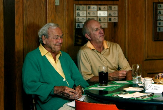 Arnold Palmer and his brother Jerry Palmer in the grill room at Latrobe Country Club.