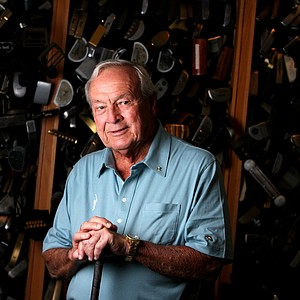Arnold Palmer in his workshop near Latrobe Country Club.