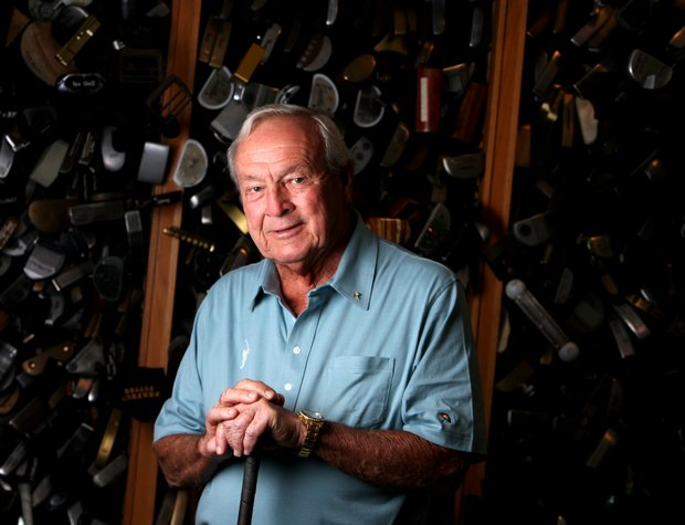 Arnold Palmer in his workshop next to his office.