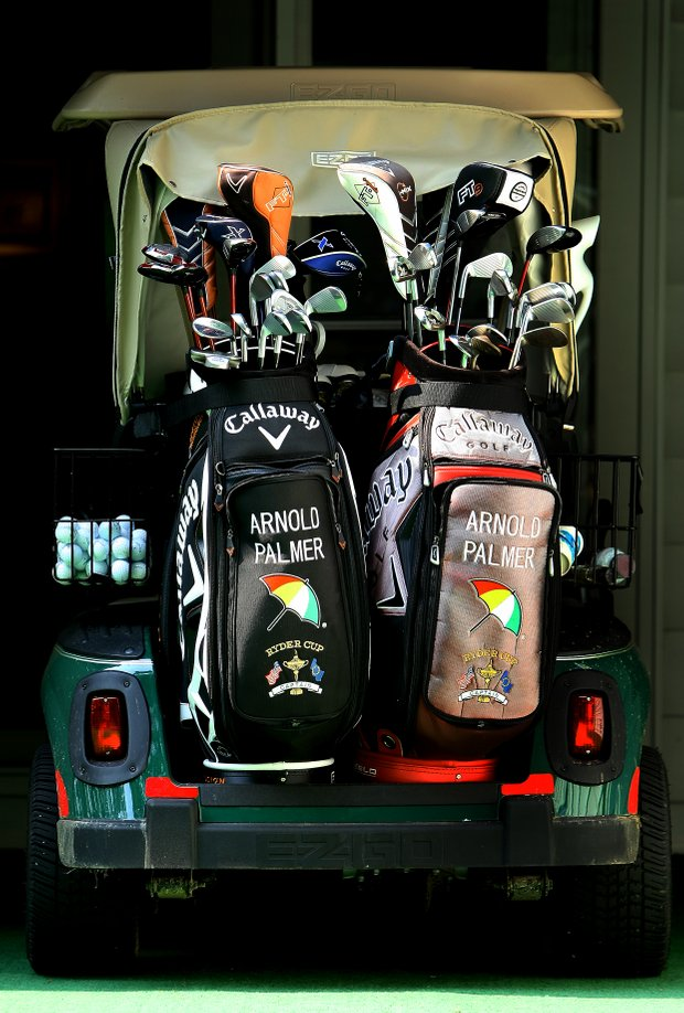 Arnold Palmer's personal golf cart is always loaded with the latest toys.