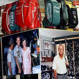 Photos of Arnold Palmer are displayed with a variety of clubs and shoes in the warehouse.