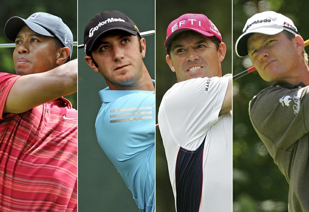 (Left to right) Tiger Woods, Dustin Johnson, Padraig Harrington, Scott Verplank.