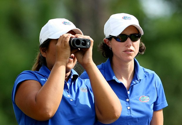 University of Florida head coach Jan Dowling, right, and Mia Piccio during the Hooters Collegiate Match Play Championship.