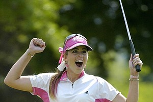 Paula Creamer celebrates in her customized pink PC 59 buckle.