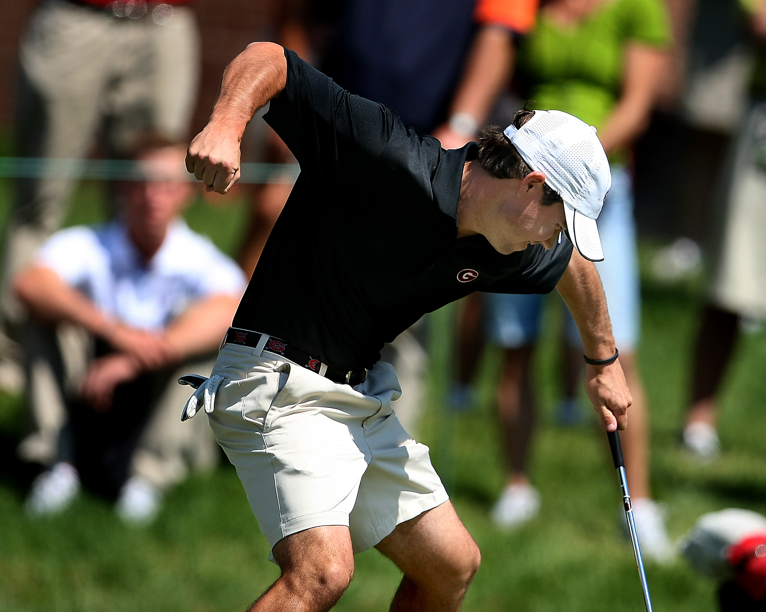 Brian Harman unleashes a fierce fist pump on the 18th green at the NCAA Championship this year.