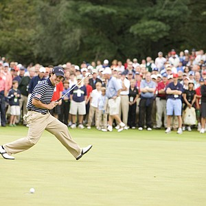 Brian Harman (USA) reacts to his putt on the first hole during the Saturday singles round of match play.