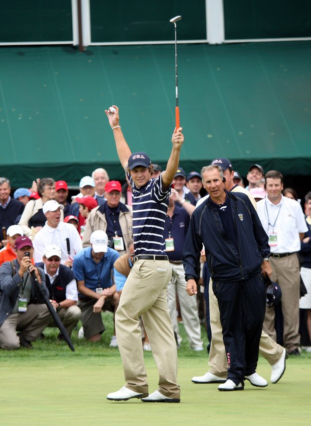 Peter Uihlein of the USA celebrates holing a vital putt at the 18th hole.
