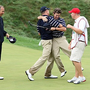 Brian Harmon of the USA and Morgan Hoffman of the USA celebrate Harmon holing their winning putt at the 17th hole.