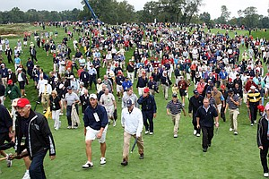Huge crowds on the 18th fairway during the morning foursome matches on the East Course at Merion Golf Club.