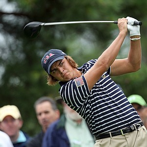 Rickie Fowler of the USA hits his tee shot at the 2nd hole during the afternoon singles matches.