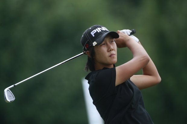 Song-Hee Kim has a two-shot lead and is chasing her first career LPGA title.