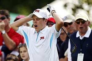 Stiggy Hodgson of England reacts to his missed putt on the 18th hole.