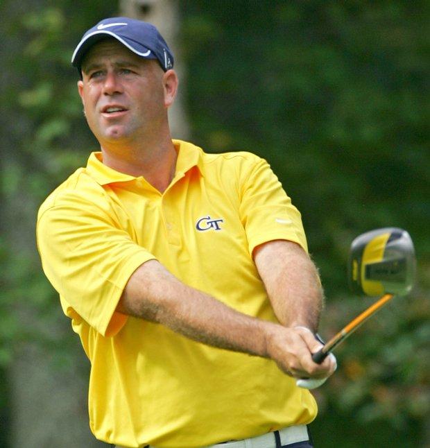 Stewart Cink during the second round of the Deutsche Bank Championship.
