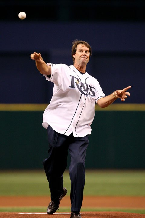 Paul Azinger throws out the first pitch before Game 2 of the American Leaugue Divisional Series (Chicago White Sox vs. Tampa Bay Rays) at Tropicana Field on Oct. 3, 2008 in St. Petersburg, Florida.
