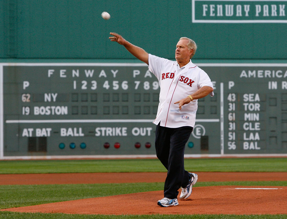Jack Nicklaus tosses out the first pitch before New York Yankees vs. Boston Red Sox game at Fenway Park on July 25, 2008.