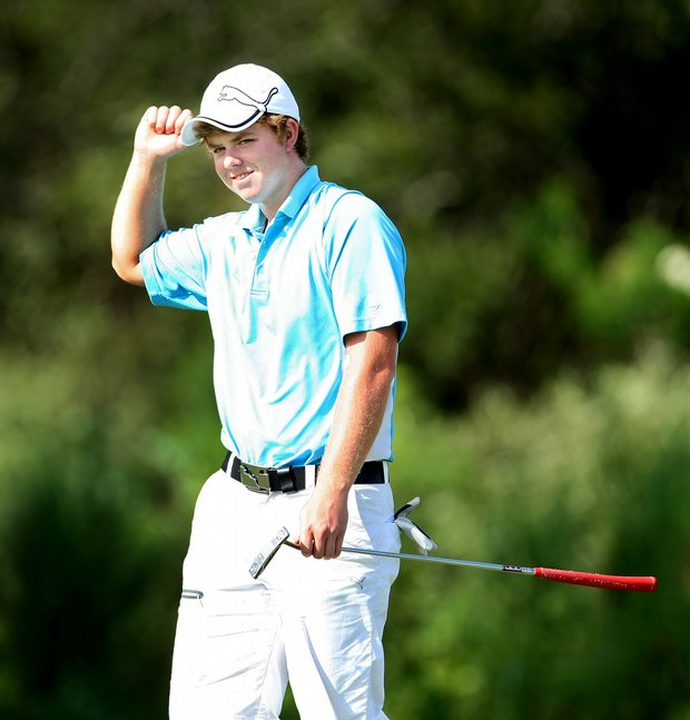 Connor Christoff reacts to making his putt at No. 12.