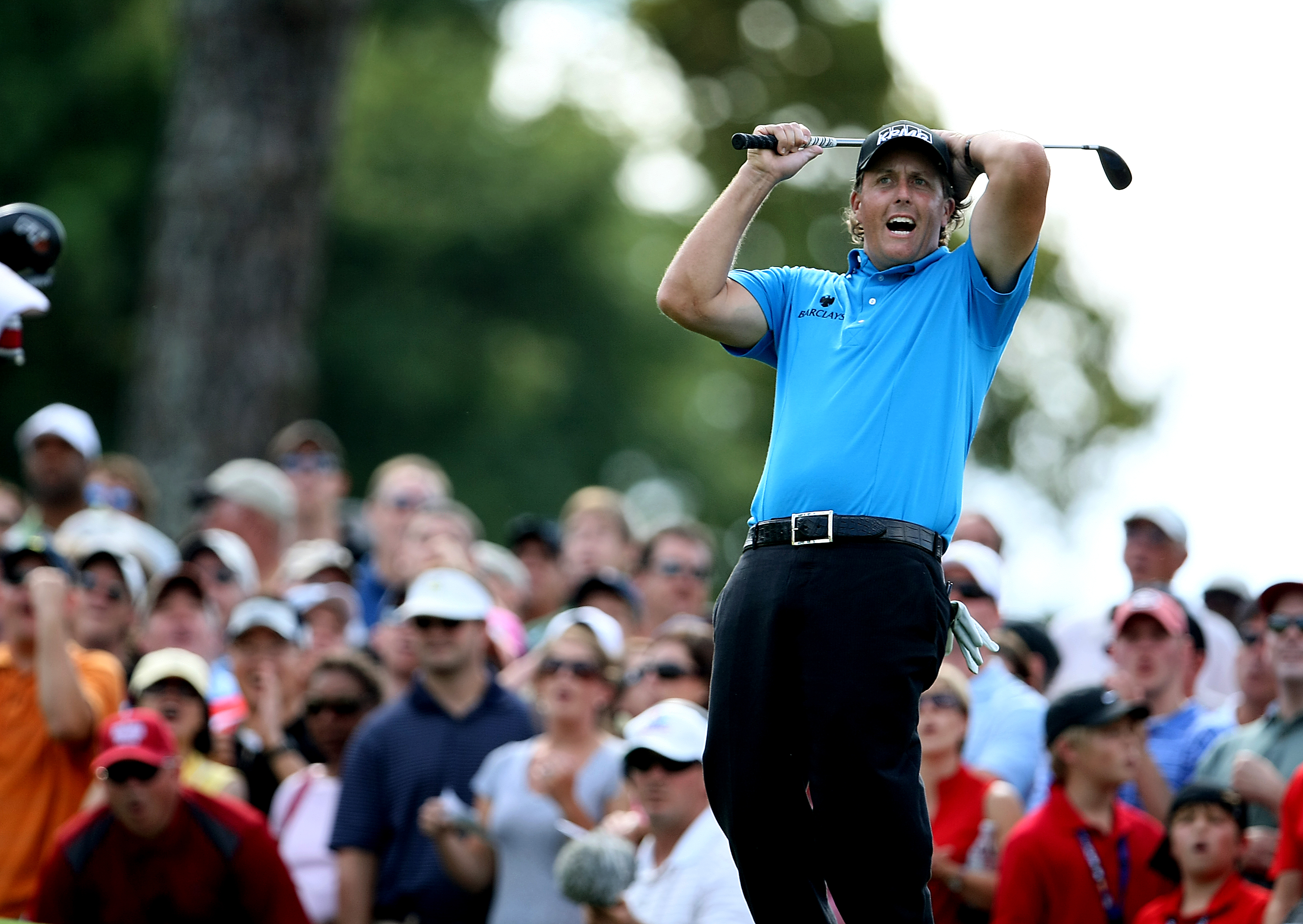 Phil Mickelson reacts to missing a birdie putt at No. 7.