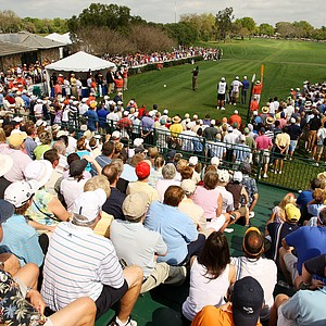 Tiger Woods tees off on the first hole at the 2008 Arnold Palmer Invitational at Bay Hill.