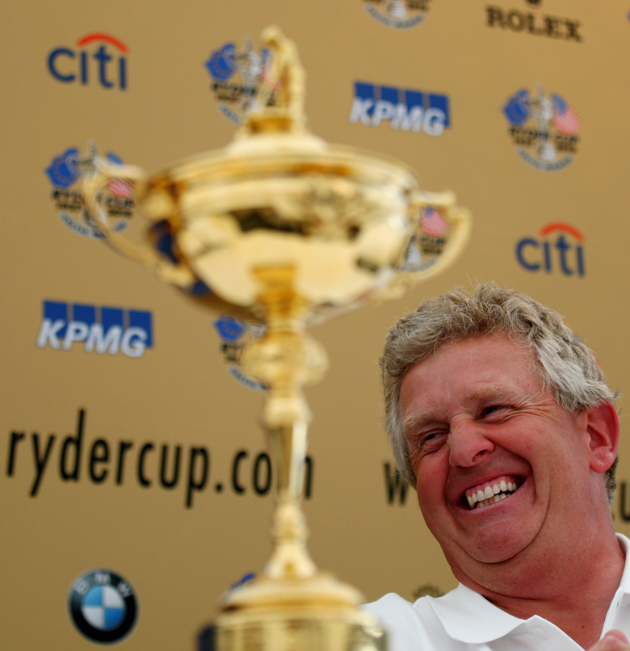 European Ryder Cup captain Colin Montgomerie at a June press conference for the 2010 Ryder Cup.