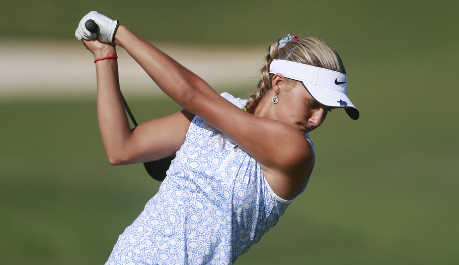 Alexis Thompson, 14, hits her drive on the 12th tee during Round 2 of the Navistar LPGA Classic.
