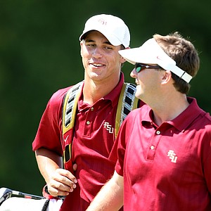 Florida State's Brooks Koepka with assistant coach Chris Malloy.