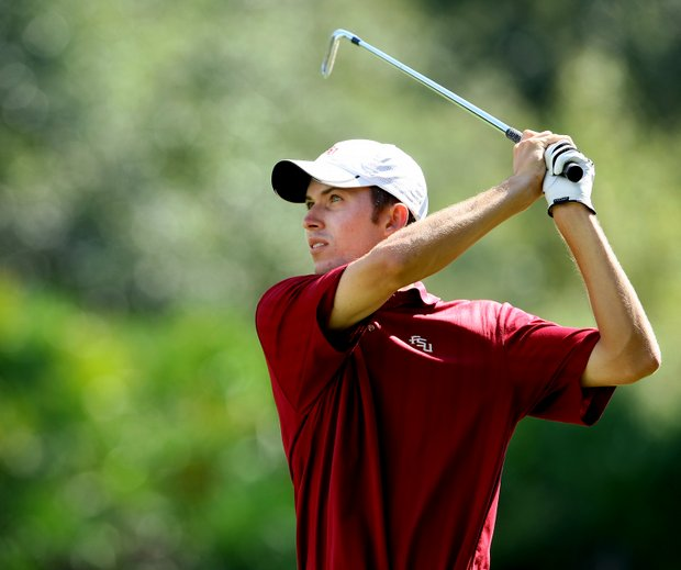 Florida State's Michael Hebert hits his second shot at No. 18.