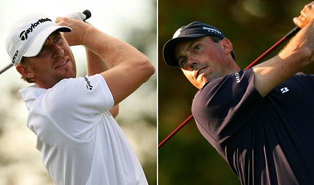 Vaughn Taylor (left) and Matt Kuchar will start their third extra hole Monday at 8:30 a.m. EDT.