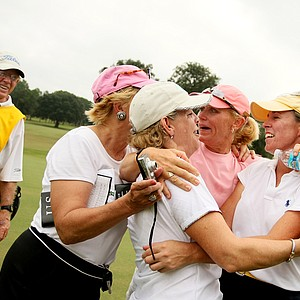 Martha Leach is mobbed by friends from left, Nancy Grote, Mary Jane, Sallie Sumerel and Mary Jane Hiestand, after she won the 23rd U.S. Women's Mid Amateur Championship.