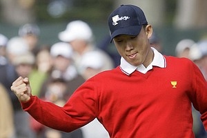 Anthony Kim celebrates his match-winning birdie putt on the 16th hole Oct. 8 at the Presidents Cup.