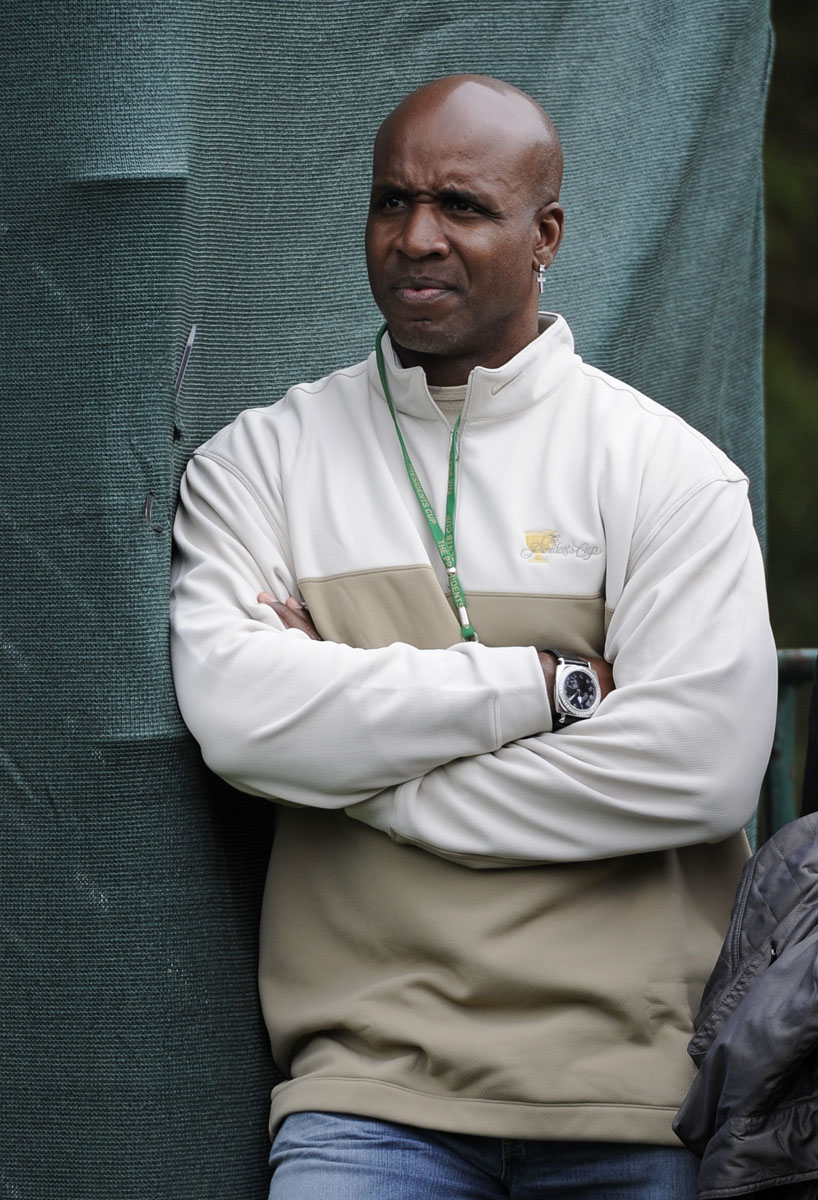 Barry Bonds watches the foursome matches Oct. 8 at the Presidents Cup.