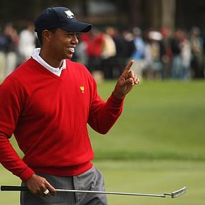 Tiger Woods reacts on the fifth green. Tiger and partner Steve Stricker had the biggest margin of victory of the day with their 6-and-4 win over Geoff Ogilvy and Ryo Ishikawa.