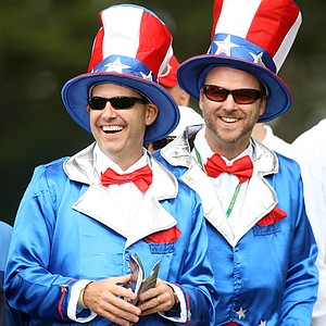 Spectators at the 8th hole display their U.S. team spirit.
