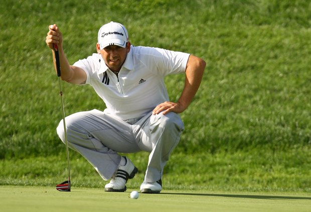 Sergio Garcia of Spain lines up a putt during Round 2 of the 2009 Madrid Masters.