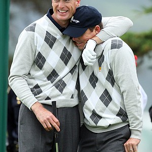Jim Furyk and Justin Leonard of Team USA during Saturday's morning foursomes matches.