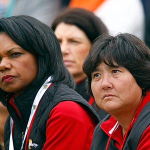 Condoleezza Rice and Pat Hurst watch play on the fifth hole during the Saturday afternoon fourball matches.