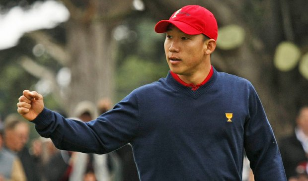 Anthony Kim defeated Robert Allenby, 5 and 3, in Sunday singles at the Presidents Cup.