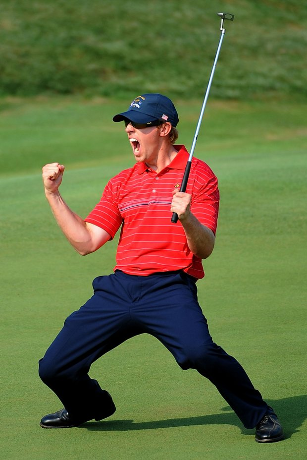 Hunter Mahan celebrates making a birdie on the 17th hole during the singles matches on the final day of the 2008 Ryder Cup.