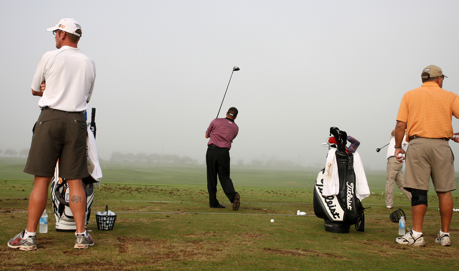 Robert Gamez warms up at PGA Tour Q-School in 2008 at Orange County National Golf Course in Orlando, Fla.