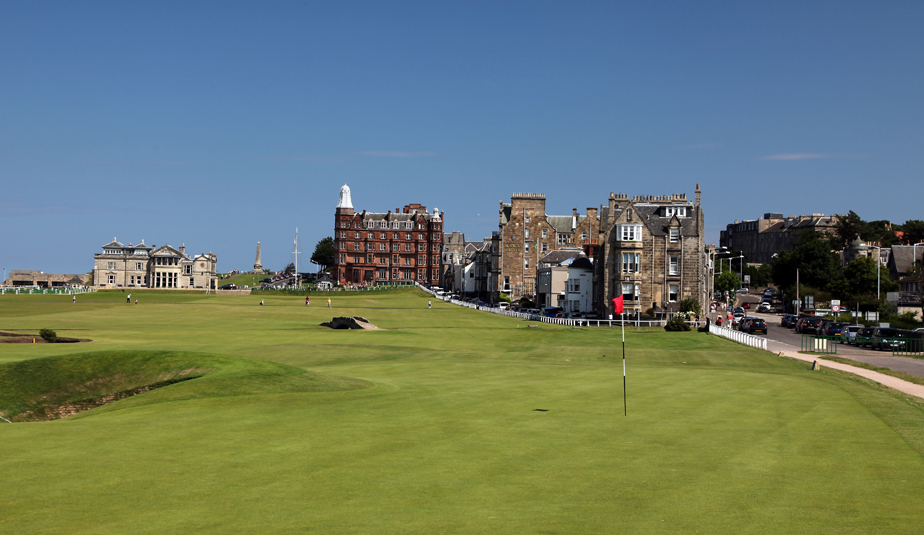 "The green on the par-4 17th ""Road Hole"" with the par-4 18th hole behind on the Old Course in St Andrews, Scotland."