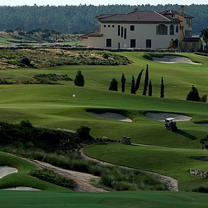 A view of the 2nd green from the 1st tee box at Bella Collina Golf Club in Montverde, Fla. Course ranked No. 19.