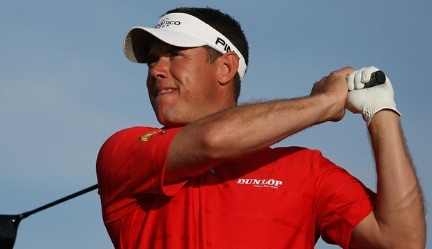Lee Westwood hits his tee shot on the 18th hole during the final round of the Portugal Masters.