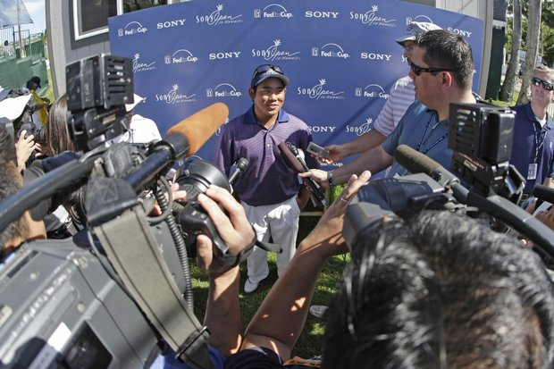 Tadd Fujikawa talks to the media Jan. 17 after the third round of the Sony Open.