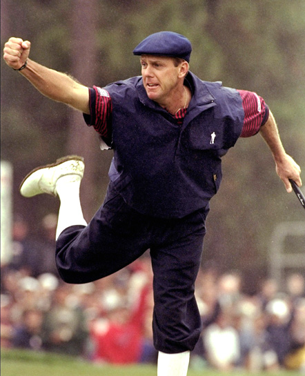 Payne Stewart after sinking his winning par putt on the 18th hole at Pinehurst during the final round of the 1999 US. Open.
