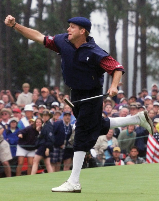 Payne Stewart punches the air in victory at the 1999 U.S. Open.