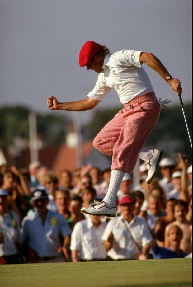 Payne Stewart as he birdies at the 17th hole during the 1989 British Open at Royal Troon.